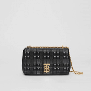 Burberry TB Small Quilted Grainy Leather Lola Bag in Black