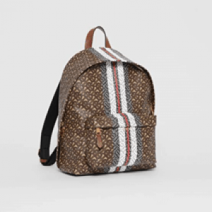 brown cotton blend Monogram Stripe Print E-canvas Backpack from Burberry