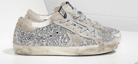 Golden Goose Superstar Silver Glitter and White Star is Best golden goose copy shoes in US