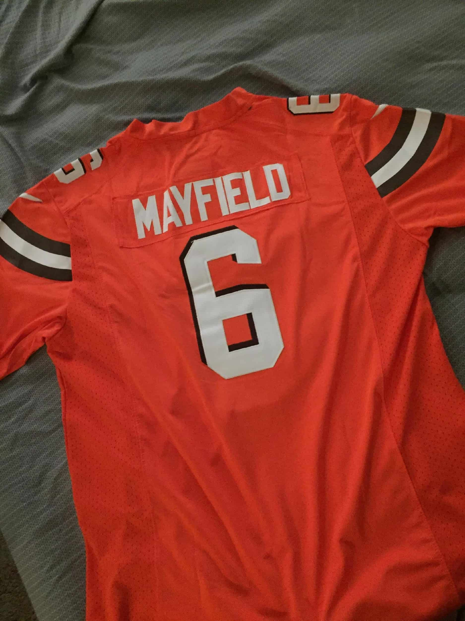 Orange #6 Baker Mayfield Jersey is best copy Nba Jerseys of 2020 - Best Reviews Guide. fans in usa and all around the world. orange black and white stripe.