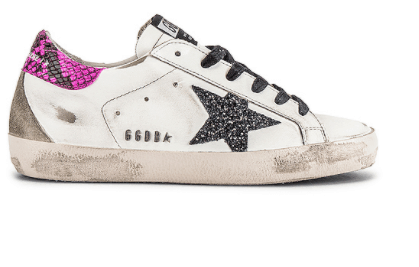 why wear worn out Golden Goose White Glitter Star Snakeskin Superstar Sneakers? they are a splurge but they look really awesome in jeans, school, dresses, sports or any event.
