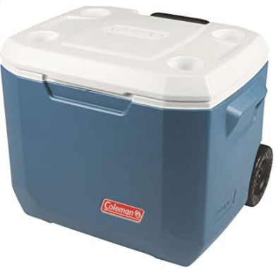 Coleman Xtreme Portable Cooler with Wheels is Our Favorite Affordable YETI Cooler Alternatives mobile and draggable across patio or grass soil hardy for camping needs