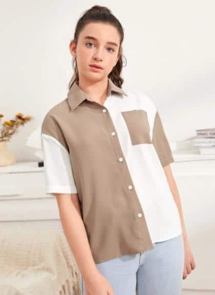 ¿Qué estilos hay para 2021 2022 2023 ?, La blusa casual con hombros descubiertos y bolsillo con parche de colorblock es las 10 principales tendencias de moda de primavera de Shein, las últimas tendencias de moda para mujeres de este año, tendencias de moda para vestir