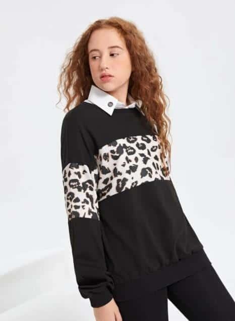 ¿Cuál es mi estilo personal de chica adolescente? La sudadera informal con panel de leopardo en contraste y hombros caídos para niña adolescente es la mejor ropa para la moda adolescente, ¿qué ropa quieren las adolescentes?