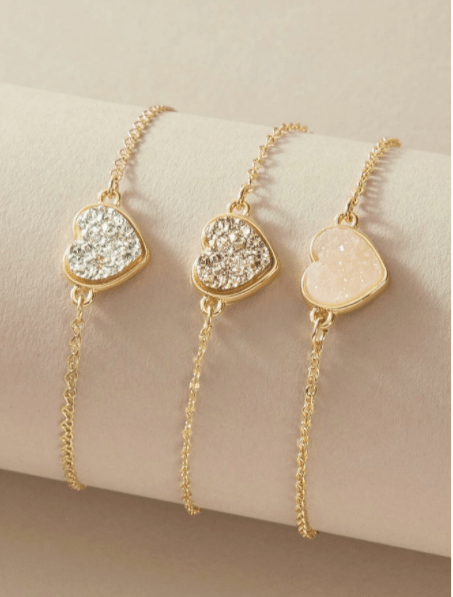 La pulsera con decoración de corazón de 3 piezas es la mejor joyería de diseñador de Shein, pendientes asequibles de diseñador de imitación a bajo precio, ¿la joyería de Shein es falsa? ¿Por qué la joyería de Shein es tan barata?