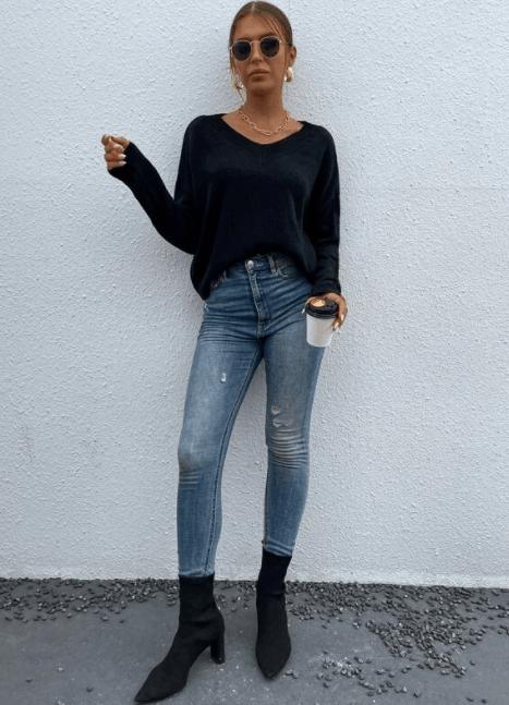 El suéter liso con hombros descubiertos es el top 10 de las mejores imitaciones de ropa de diseñador para mujeres, las mejores imitaciones de diseñador, las imitaciones de diseñador asequibles a bajo precio, mis mejores hallazgos de SHEIN para la primavera