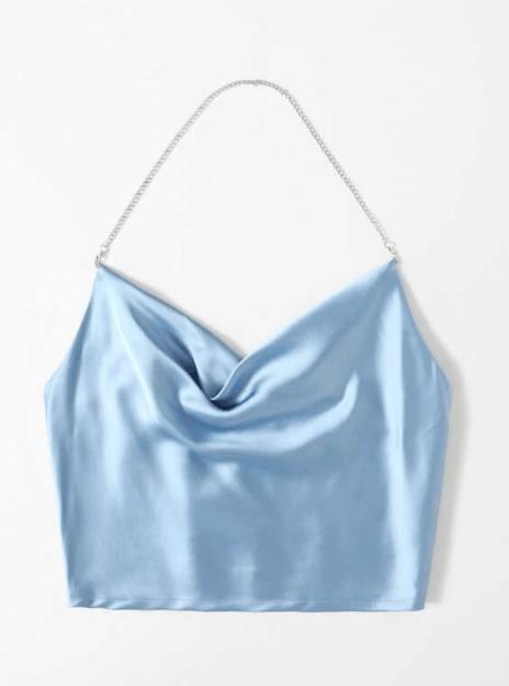Satin Shirred Back Halter Top es Top 10 Best Designer Clothing Dupes para mujeres, The Best Designer Dupes, Asequible Designer Dupes For Cheap, dónde encontrar Shein dupes reddit