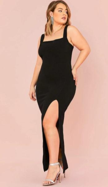 ¿Cuáles son las mejores prendas de talla grande de Shein? el vestido maxi sin mangas Glam Split Thigh es una de las mejores prendas de talla grande de Shein