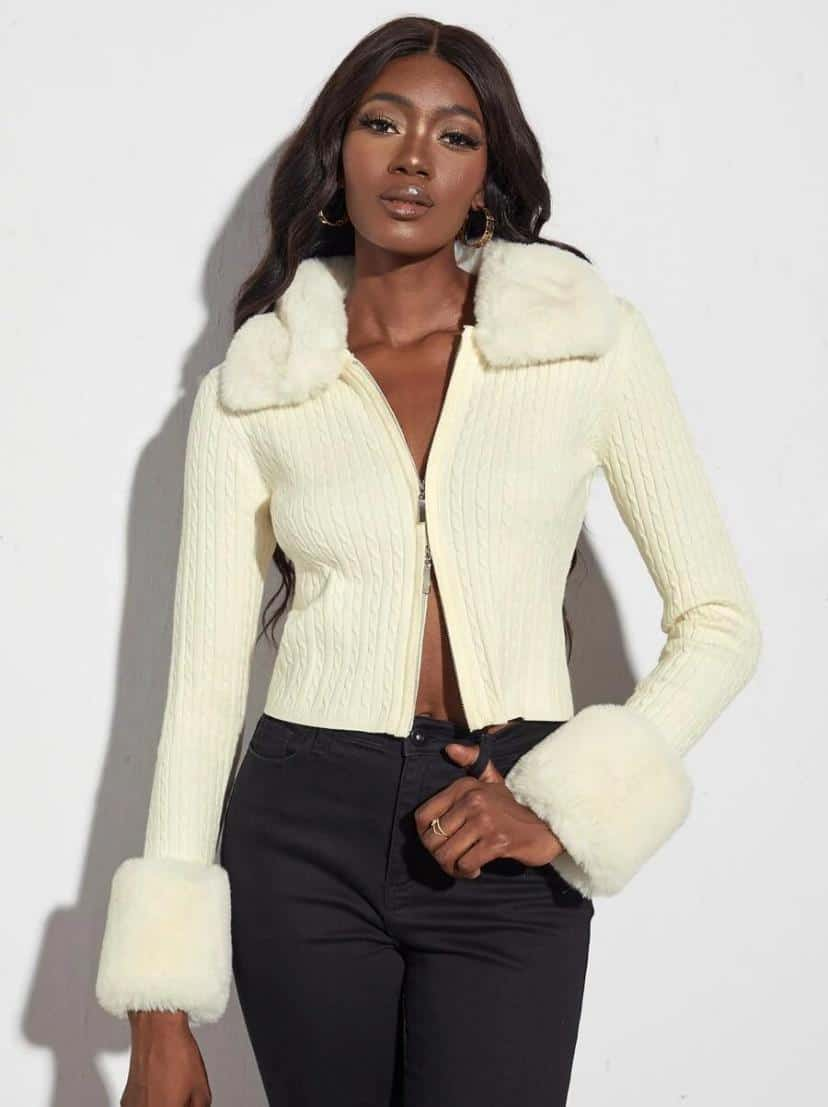 Cable Knit Zipper Cardigan With Removable Collar is the Best House of Sunny Shein dupes, The Best SHEIN Dupes for the House of Sunny Clothing, 10 affordable shein clothing picks, Where to Find House of Sunny Dupes, we tried shein house of sunny dupe for you