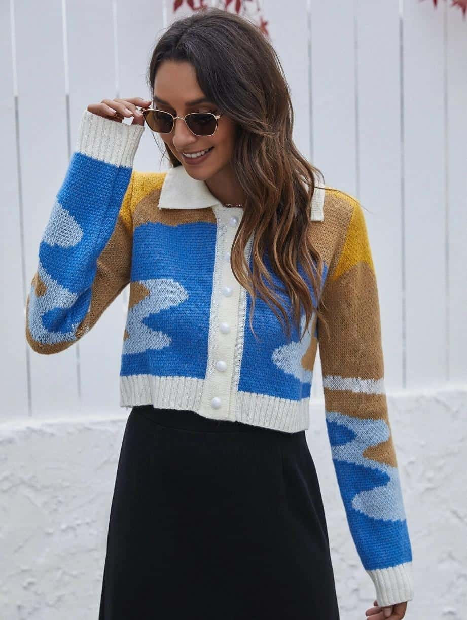 Colorblock Button Front Crop Cardigan is the Best House of Sunny Shein dupes, The Best SHEIN Dupes for the House of Sunny Clothing, 10 affordable shein clothing picks, Where to Find House of Sunny Dupes, we tried shein house of sunny dupe for you