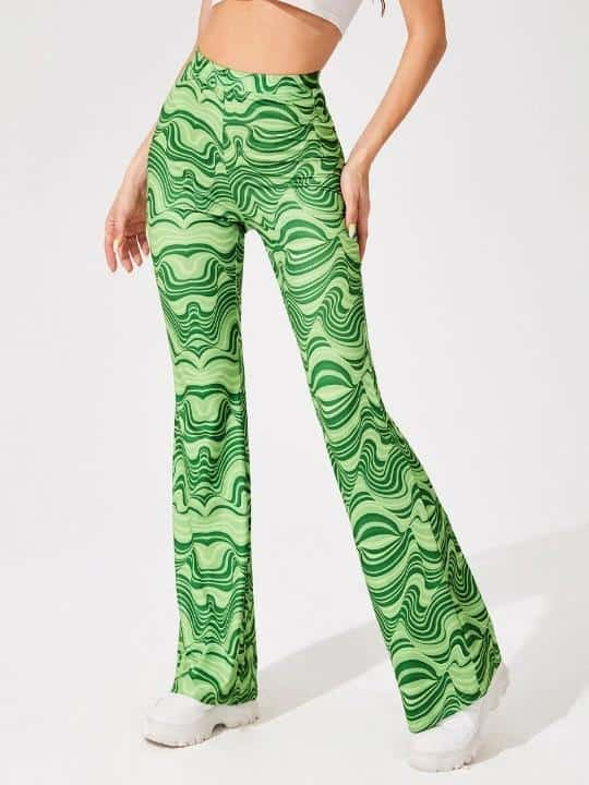 SHEIN Allover Print Flare Leg Pants is the Best House of Sunny Shein dupes, The Best SHEIN Dupes for the House of Sunny Clothing, 10 affordable shein clothing picks, Where to Find House of Sunny Dupes, we tried shein house of sunny dupe for you