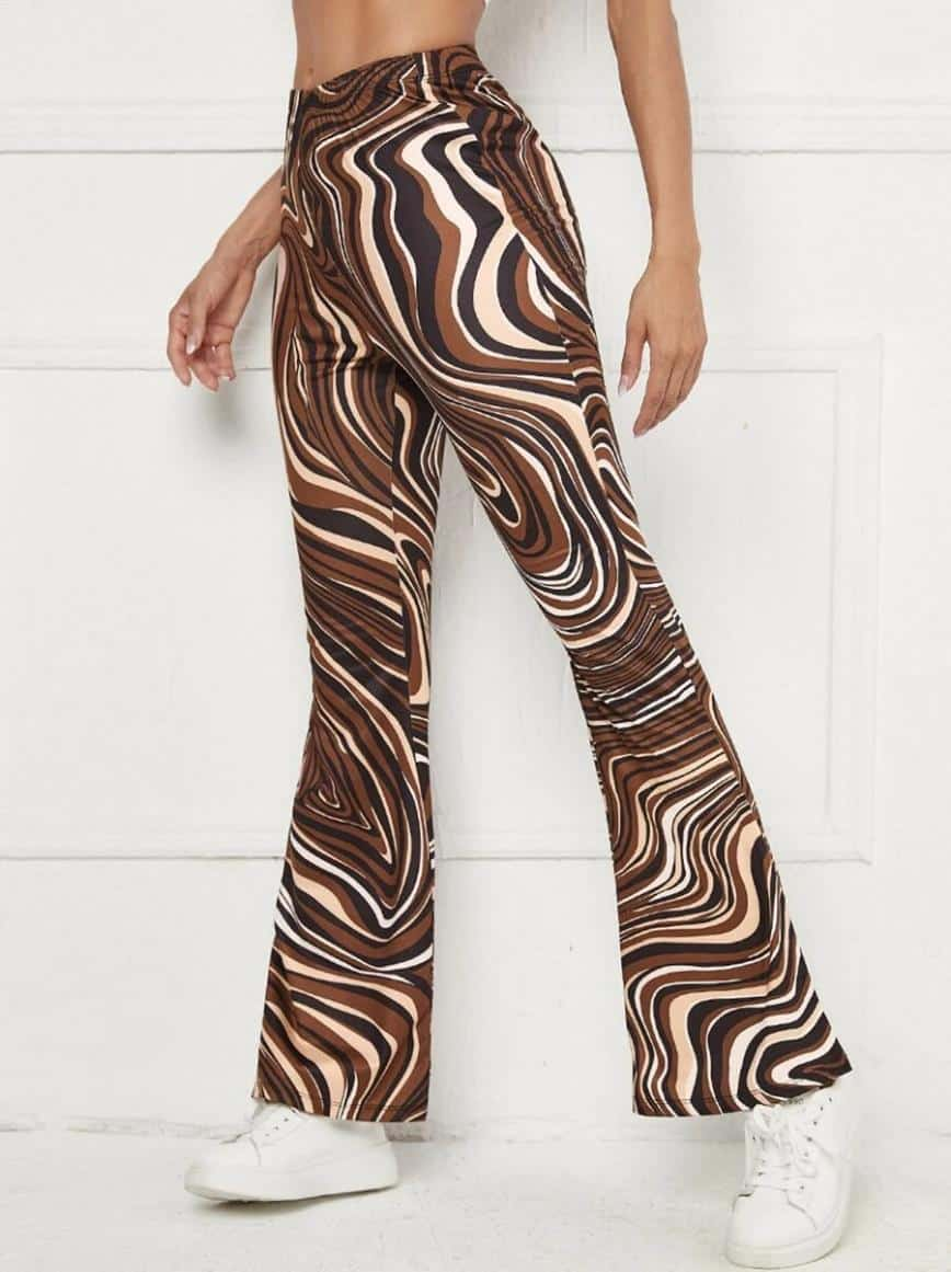 SHEIN Marble Print Flare Leg Pants is the Best House of Sunny Shein dupes, The Best SHEIN Dupes for the House of Sunny Clothing, 10 affordable shein clothing picks, Where to Find House of Sunny Dupes, we tried shein house of sunny dupe for you