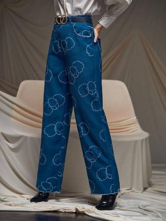 SHEIN X Zoe Graphic Print Raw Hem Wide Leg Pants is the Best House of Sunny Shein dupes, The Best SHEIN Dupes for the House of Sunny Clothing, 10 affordable shein clothing picks, Where to Find House of Sunny Dupes, we tried shein house of sunny dupe for you