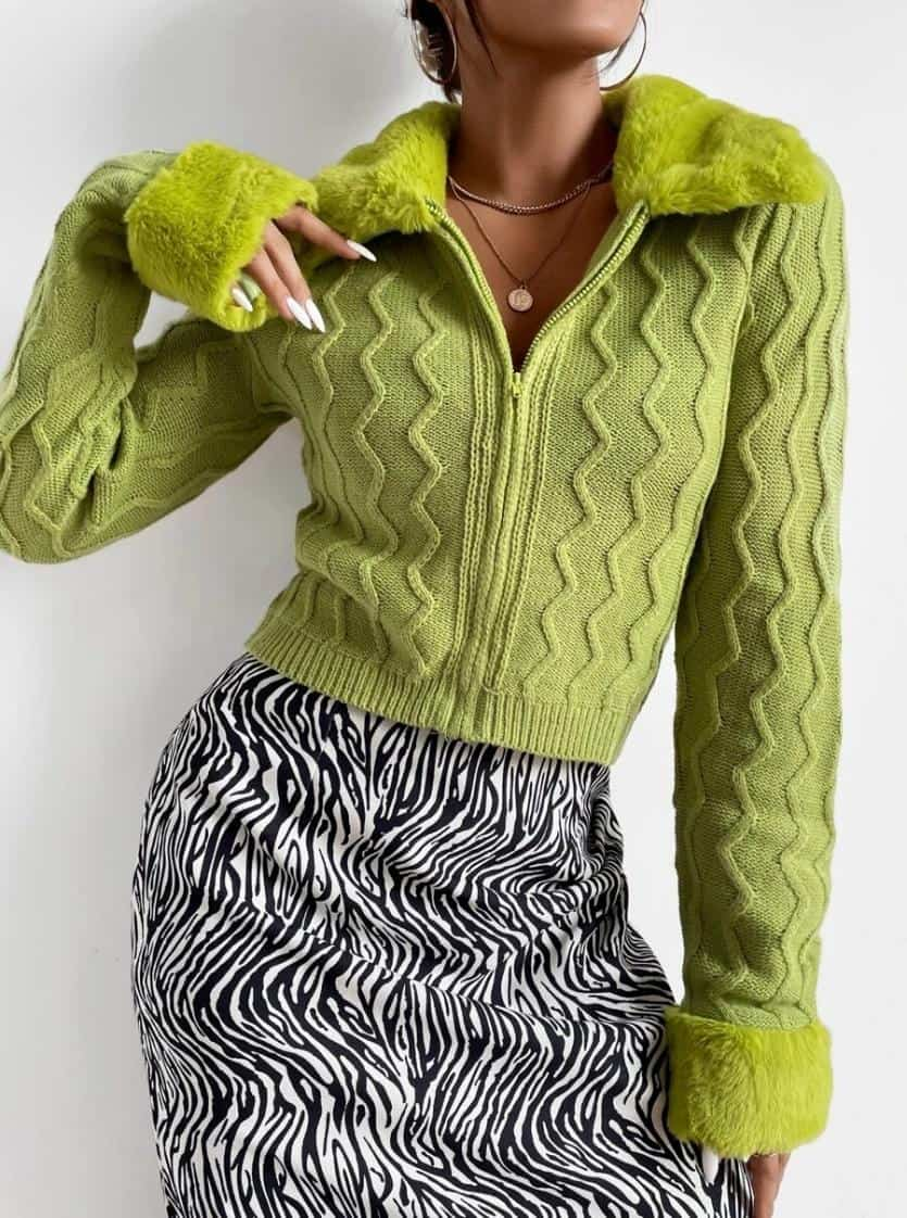 Zipper Fly Contrast Stitch Fuzzy Cardigan is the Best House of Sunny Shein dupes, The Best SHEIN Dupes for the House of Sunny Clothing, 10 affordable shein clothing picks, Where to Find House of Sunny Dupes, we tried shein house of sunny dupe for you